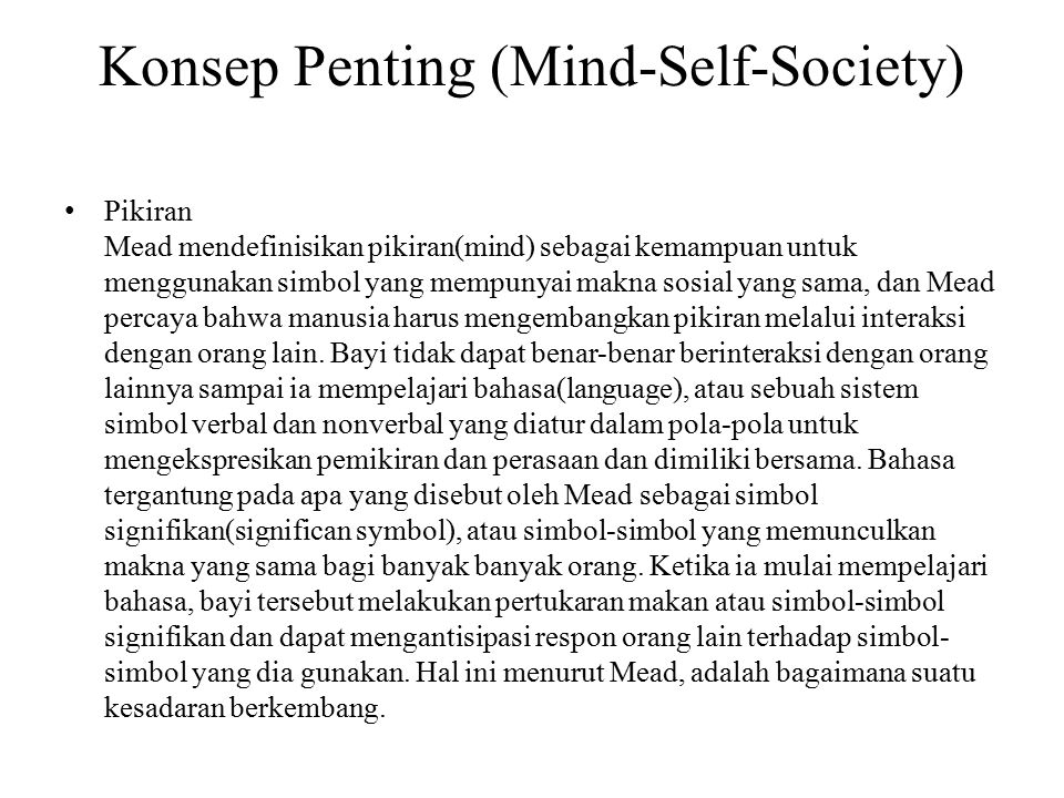 Konsep Penting (Mind-Self-Society)