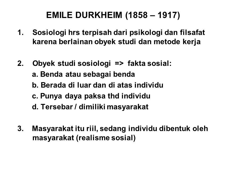EMILE DURKHEIM (1858 – 1917) Sosiologi hrs terpisah dari psikologi dan filsafat karena berlainan obyek studi dan metode kerja.
