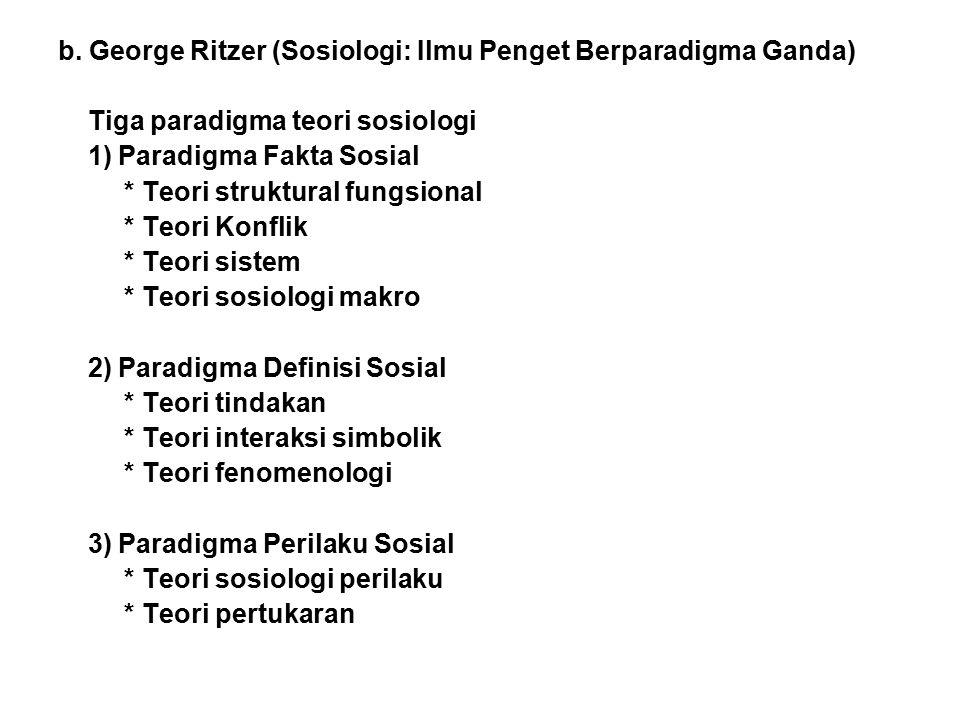 b. George Ritzer (Sosiologi: Ilmu Penget Berparadigma Ganda)