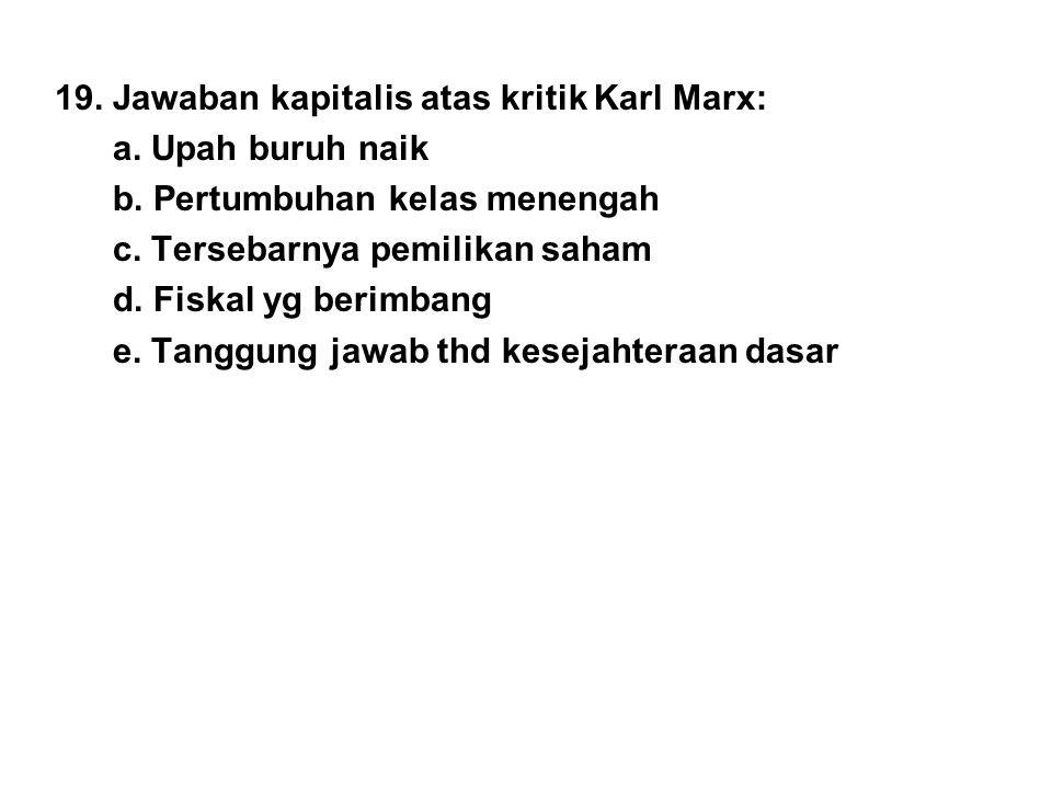 19. Jawaban kapitalis atas kritik Karl Marx: