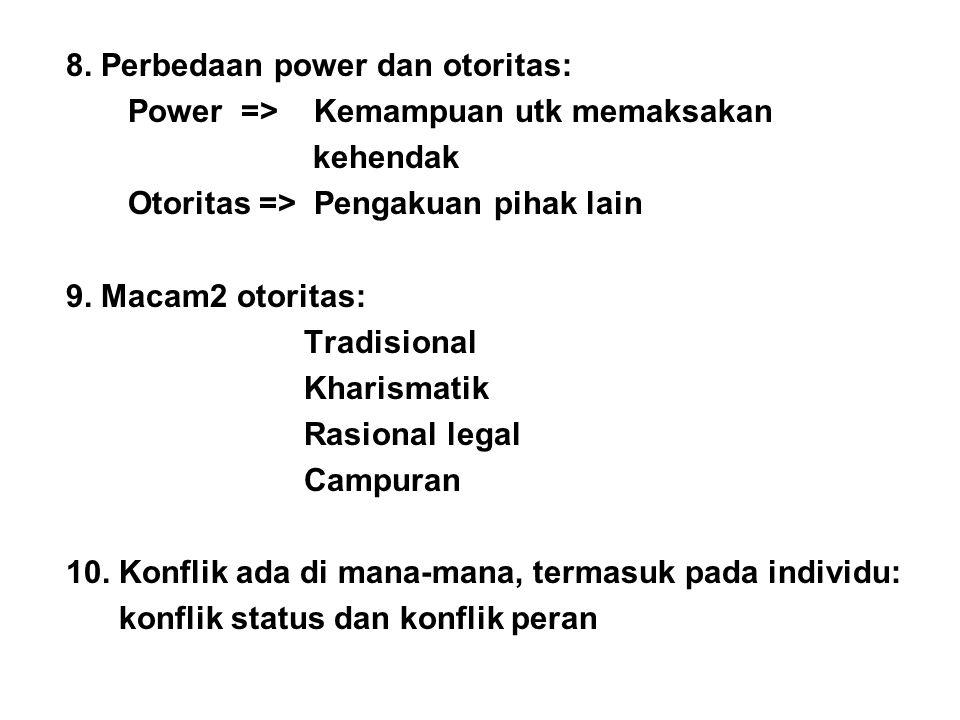 8. Perbedaan power dan otoritas: