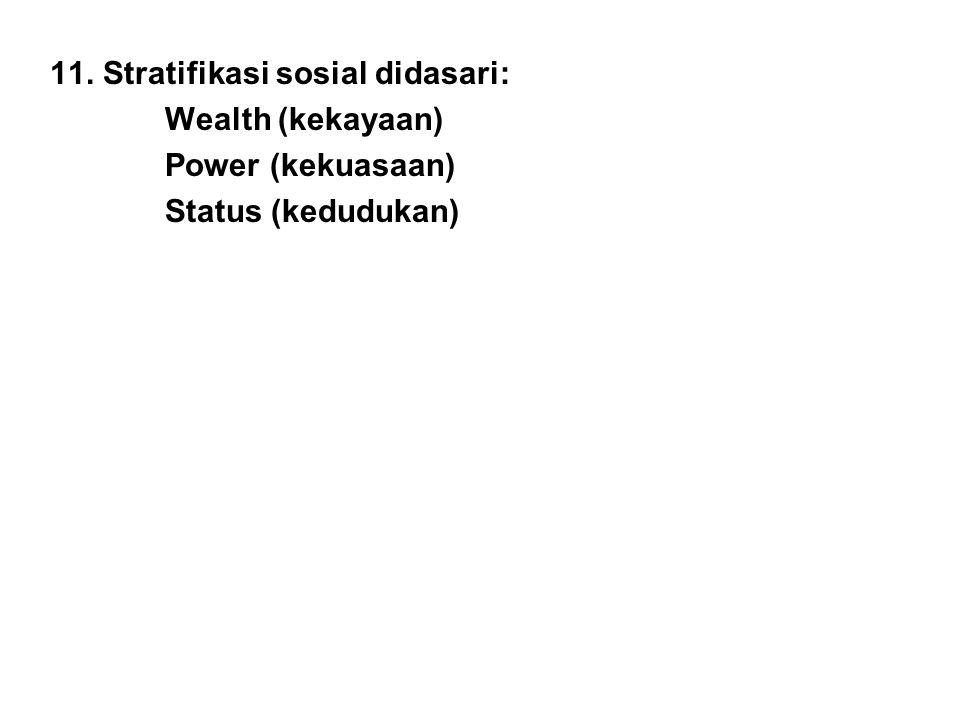 11. Stratifikasi sosial didasari: