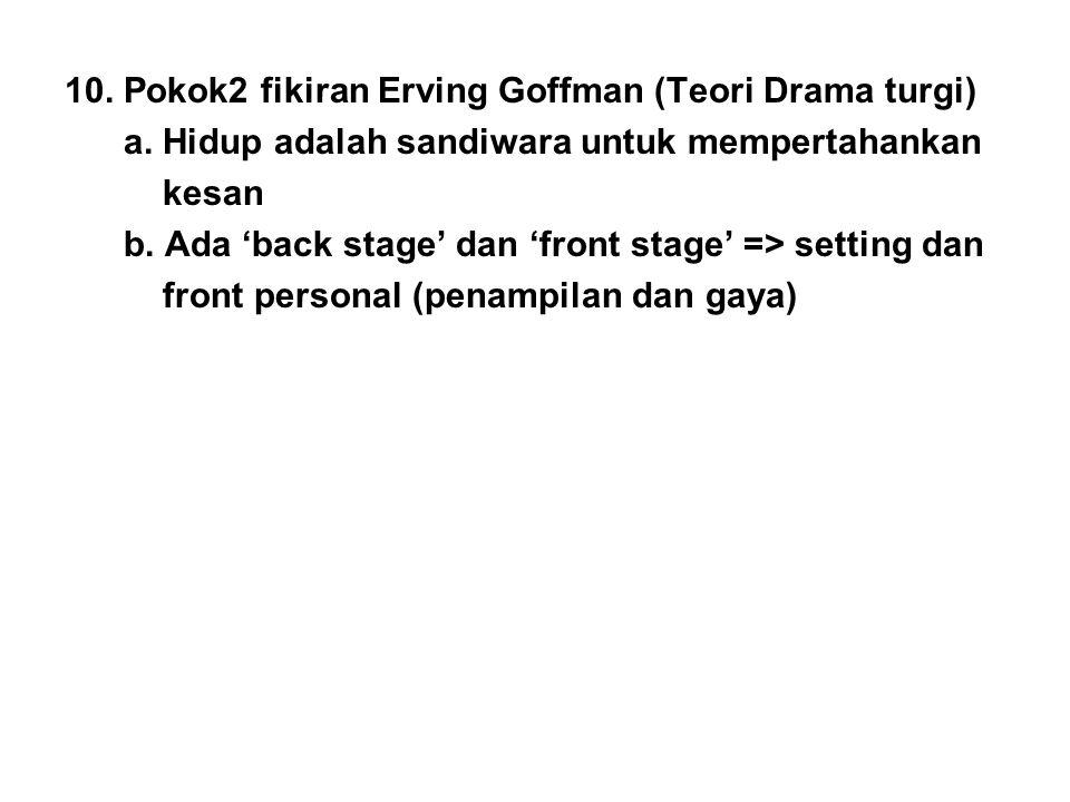 10. Pokok2 fikiran Erving Goffman (Teori Drama turgi)