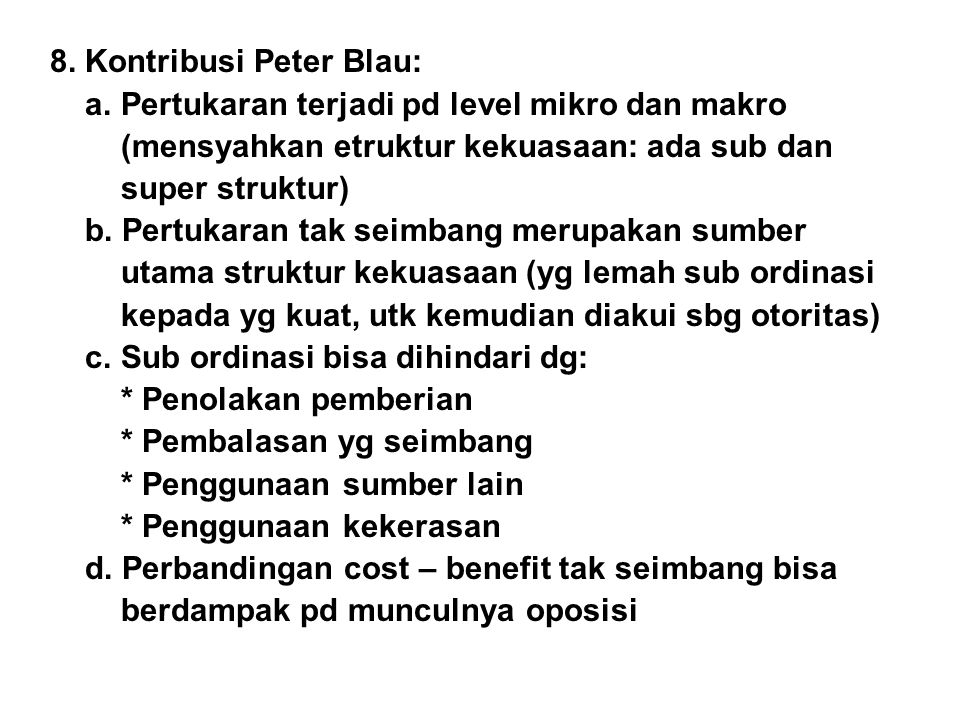 8. Kontribusi Peter Blau: