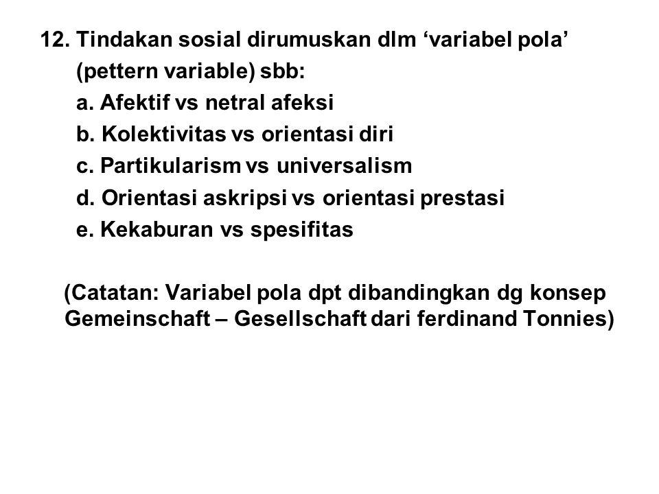 12. Tindakan sosial dirumuskan dlm 'variabel pola'