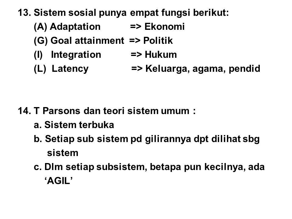 13. Sistem sosial punya empat fungsi berikut: