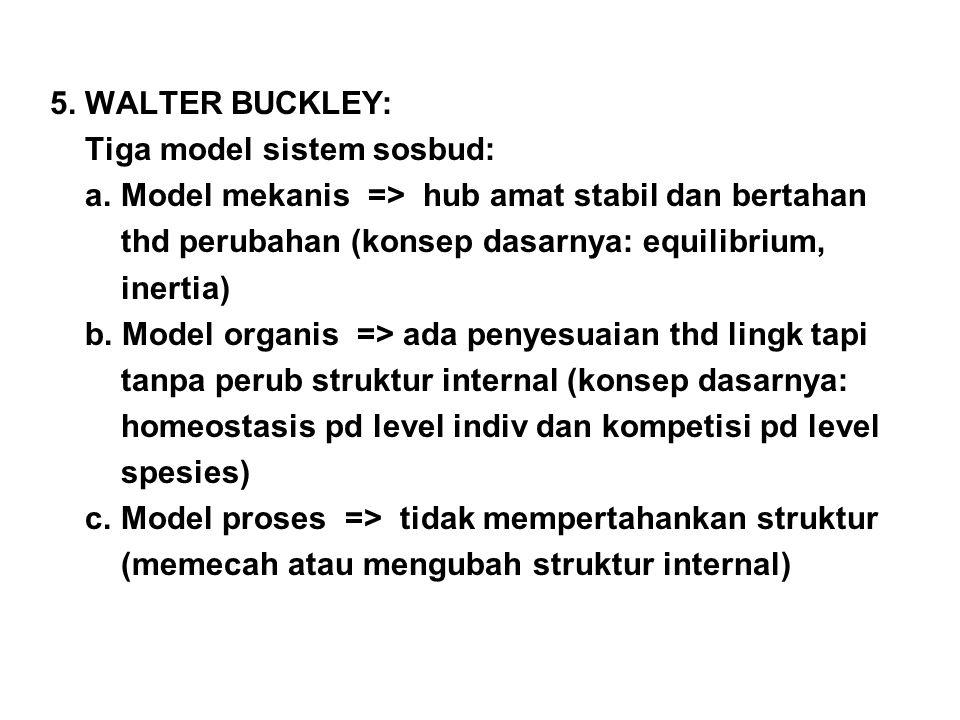 5. WALTER BUCKLEY: Tiga model sistem sosbud: a. Model mekanis => hub amat stabil dan bertahan. thd perubahan (konsep dasarnya: equilibrium,