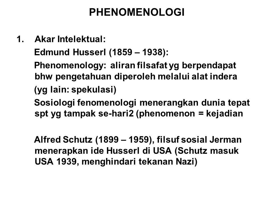 PHENOMENOLOGI Akar Intelektual: Edmund Husserl (1859 – 1938):