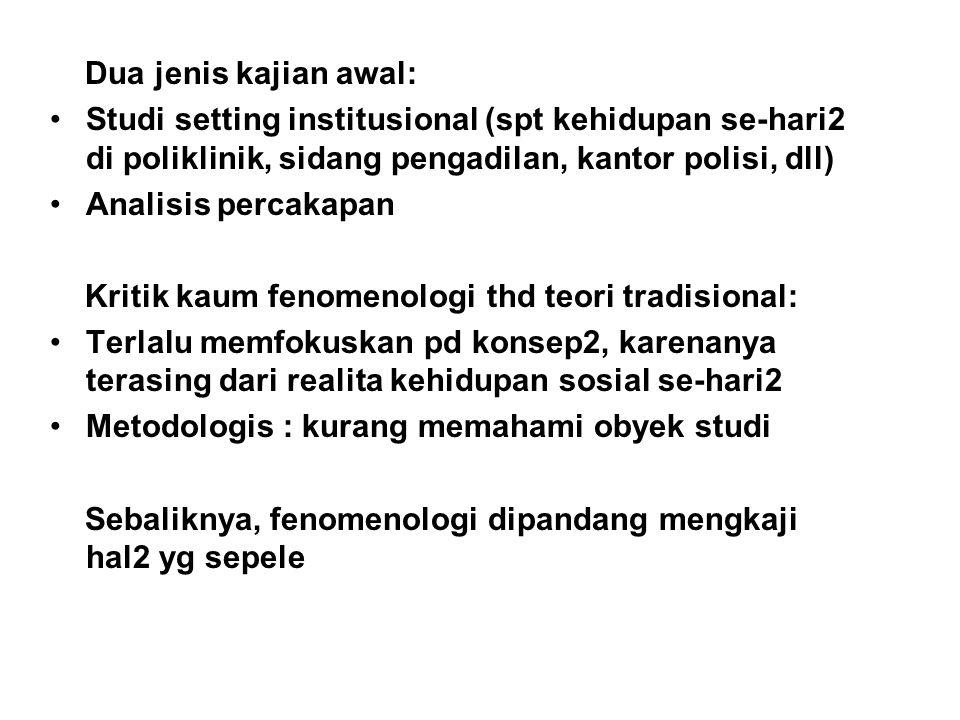 Dua jenis kajian awal: Studi setting institusional (spt kehidupan se-hari2 di poliklinik, sidang pengadilan, kantor polisi, dll)