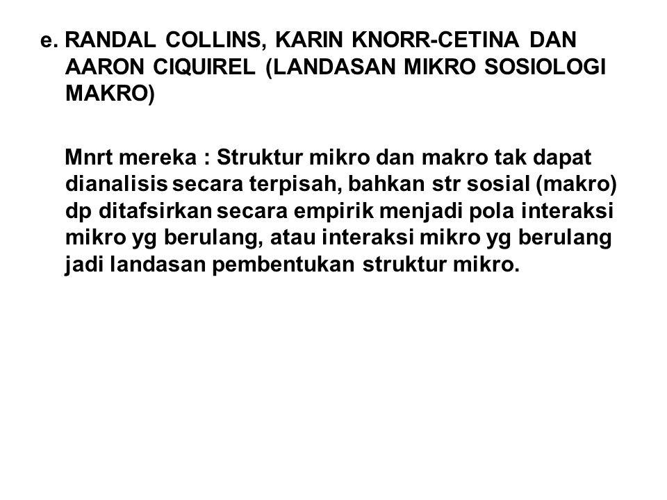 e. RANDAL COLLINS, KARIN KNORR-CETINA DAN AARON CIQUIREL (LANDASAN MIKRO SOSIOLOGI MAKRO)