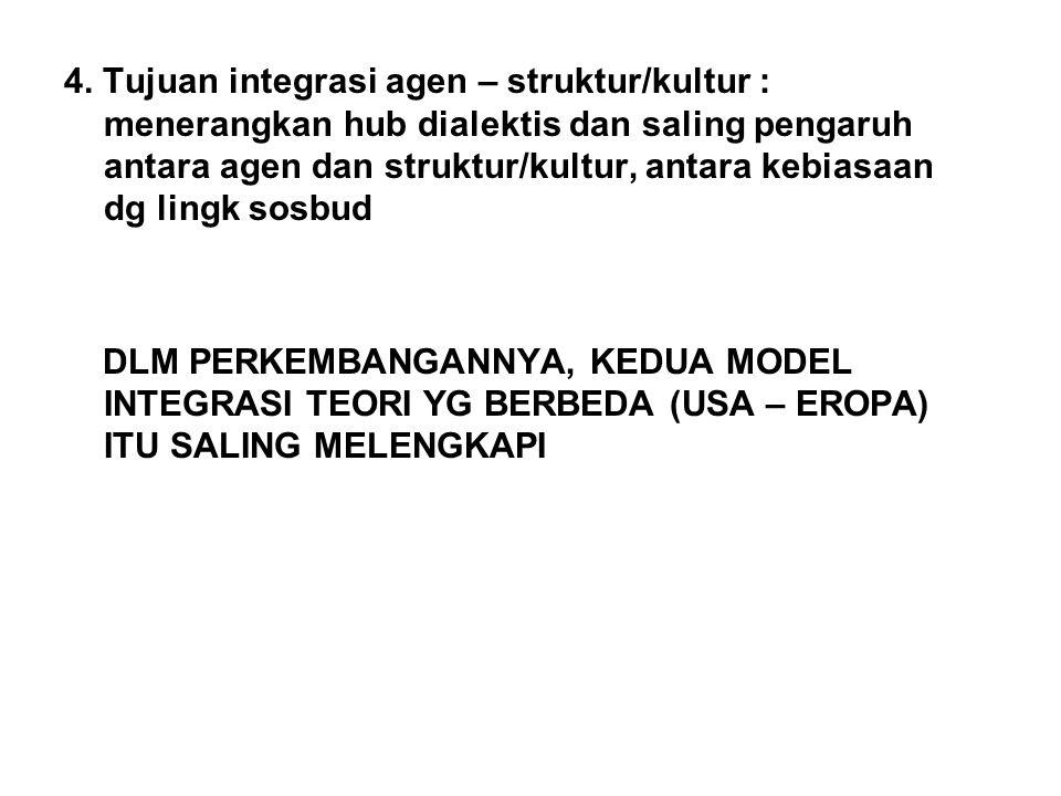 4. Tujuan integrasi agen – struktur/kultur : menerangkan hub dialektis dan saling pengaruh antara agen dan struktur/kultur, antara kebiasaan dg lingk sosbud