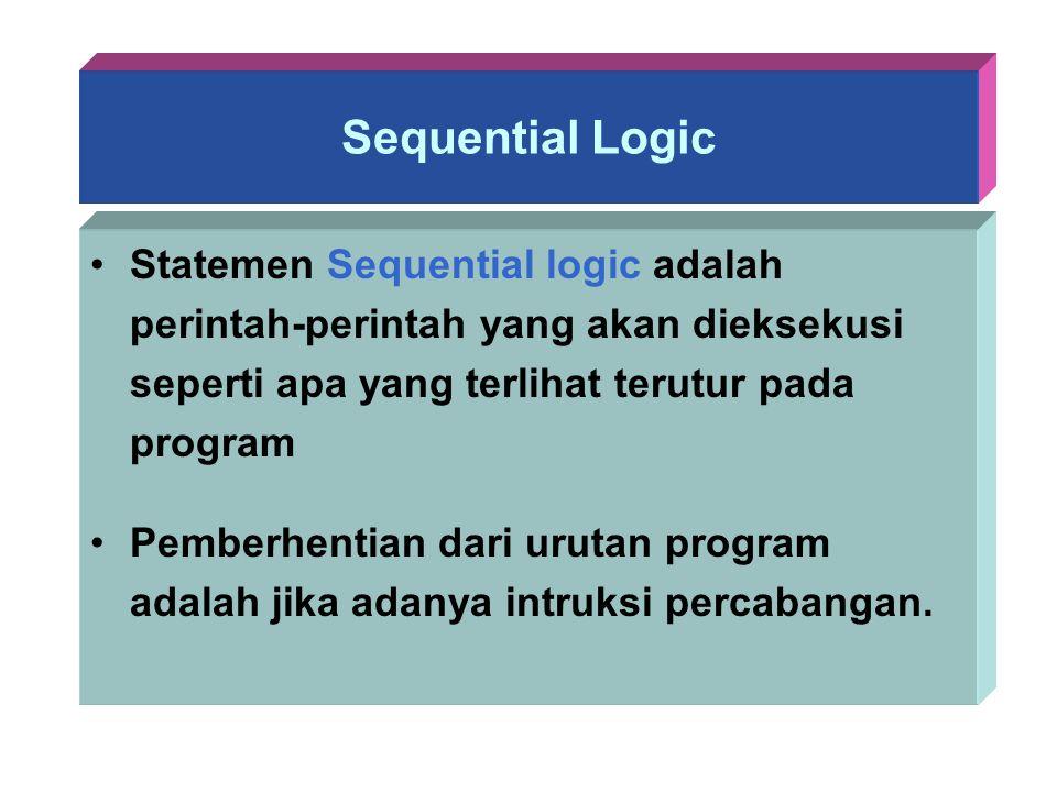 Sequential Logic Statemen Sequential logic adalah perintah-perintah yang akan dieksekusi seperti apa yang terlihat terutur pada program.