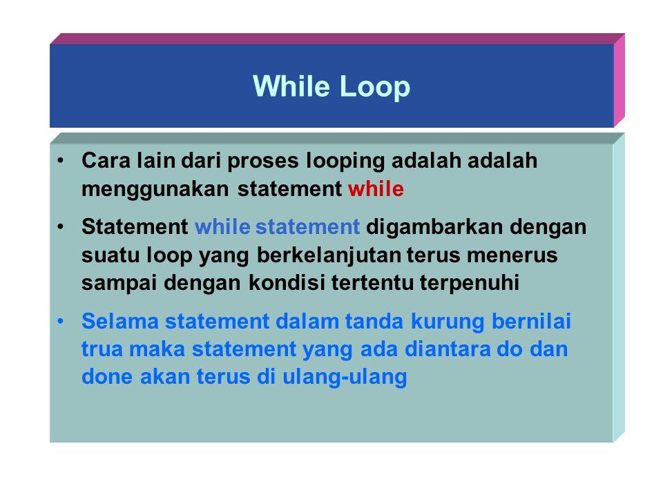 While Loop Cara lain dari proses looping adalah adalah menggunakan statement while.