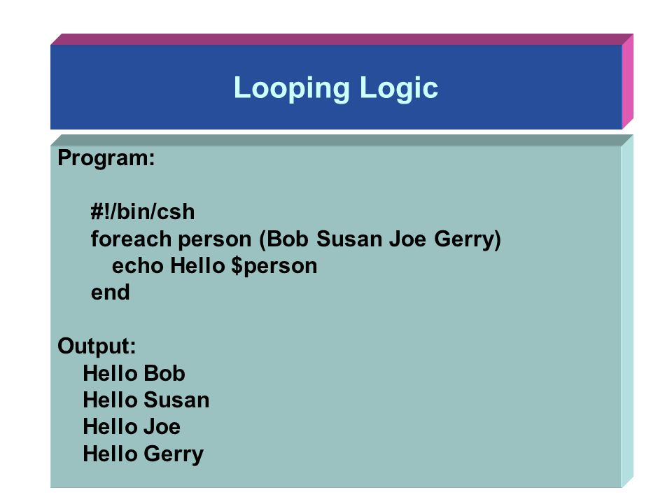 Looping Logic Program: #!/bin/csh foreach person (Bob Susan Joe Gerry)