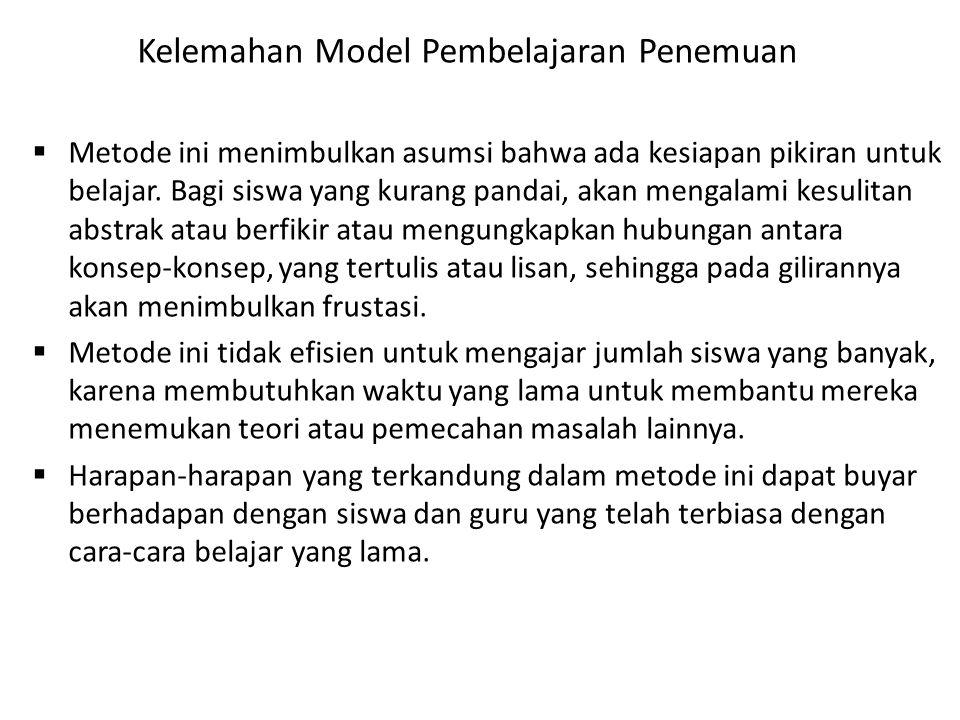 Kelemahan Model Pembelajaran Penemuan