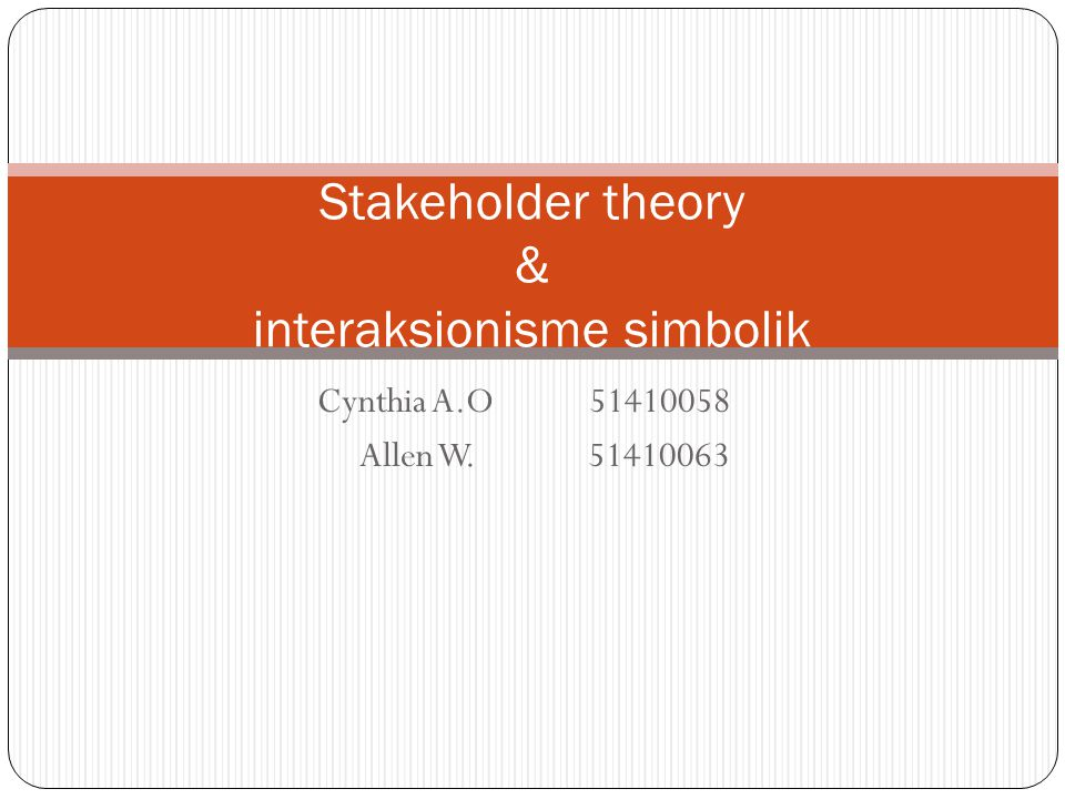 Stakeholder theory & interaksionisme simbolik
