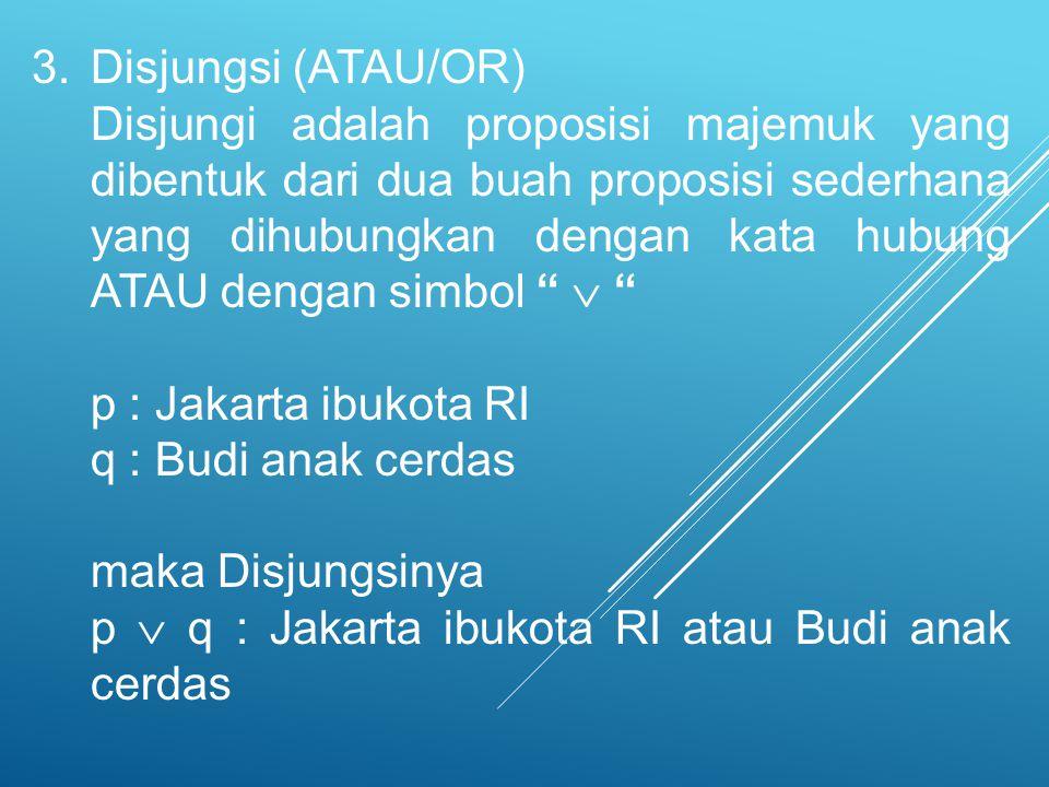 Disjungsi (ATAU/OR)