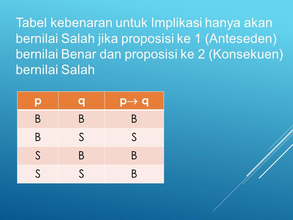 Tabel kebenaran untuk Implikasi hanya akan bernilai Salah jika proposisi ke 1 (Anteseden) bernilai Benar dan proposisi ke 2 (Konsekuen) bernilai Salah