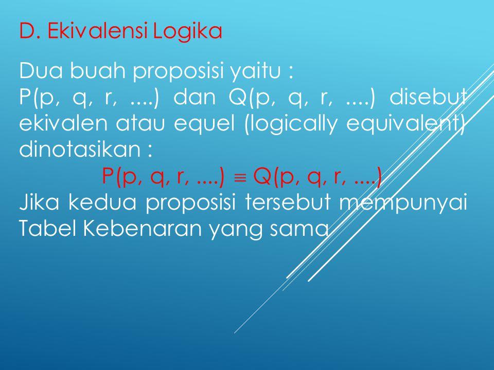 D. Ekivalensi Logika Dua buah proposisi yaitu :
