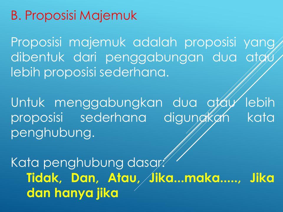B. Proposisi Majemuk Proposisi majemuk adalah proposisi yang dibentuk dari penggabungan dua atau lebih proposisi sederhana.