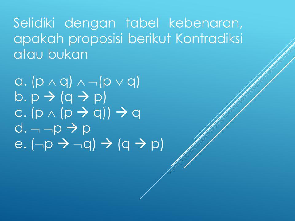 Selidiki dengan tabel kebenaran, apakah proposisi berikut Kontradiksi atau bukan