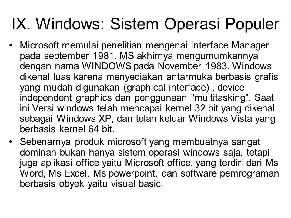 IX. Windows: Sistem Operasi Populer