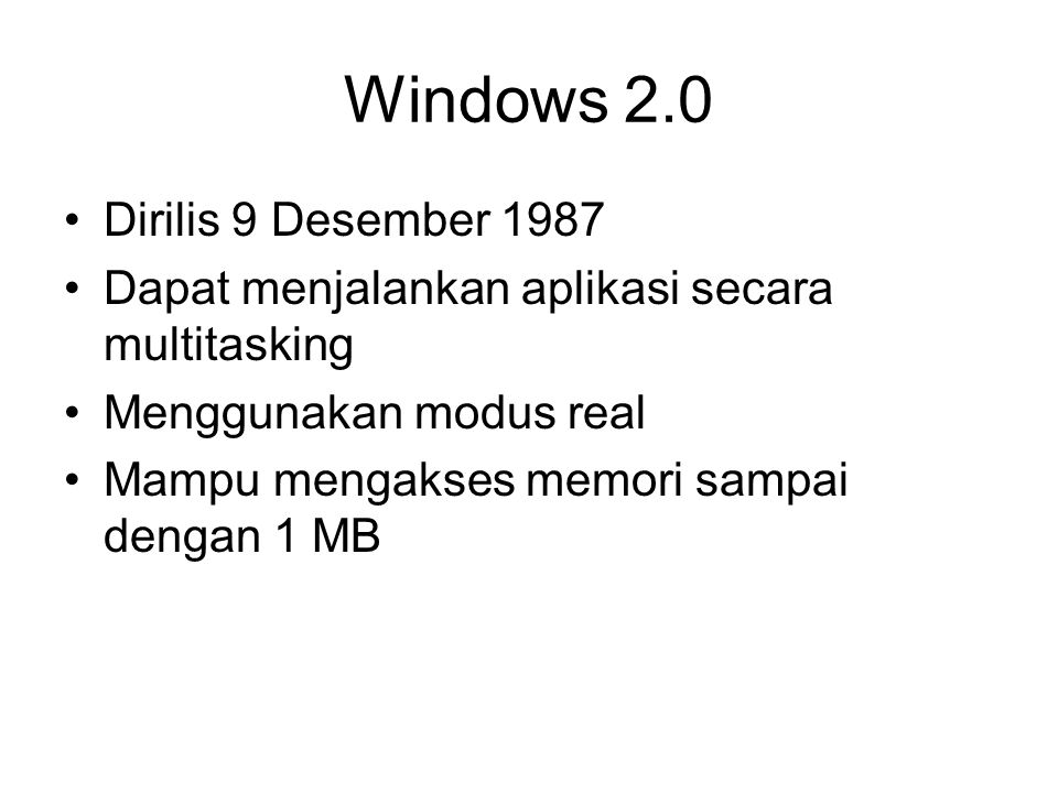 Windows 2.0 Dirilis 9 Desember 1987