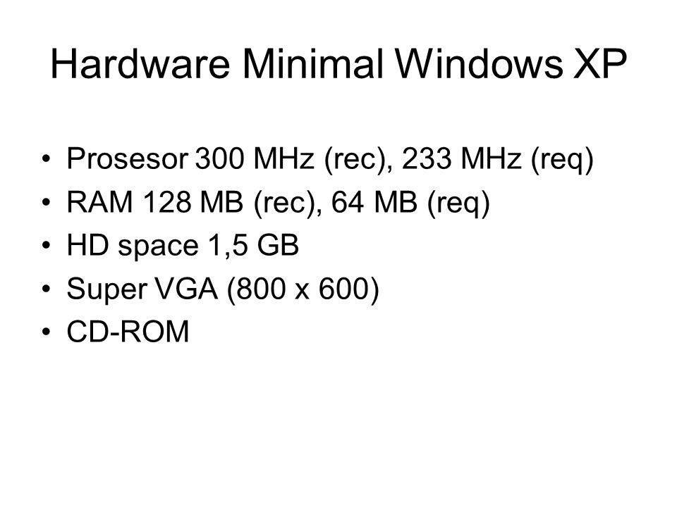 Hardware Minimal Windows XP