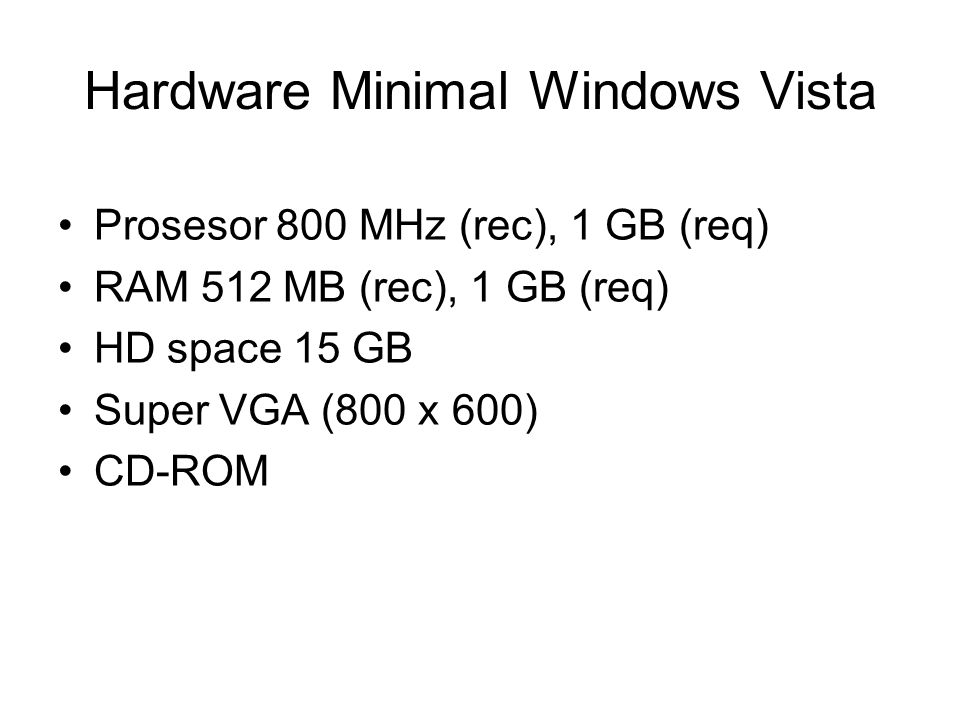 Hardware Minimal Windows Vista