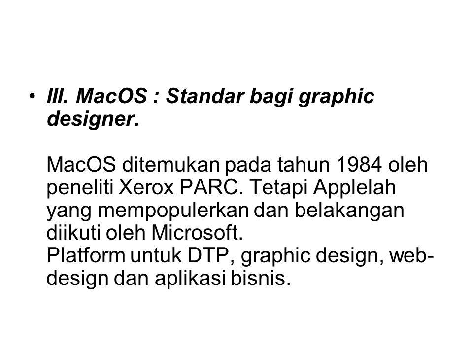 III. MacOS : Standar bagi graphic designer