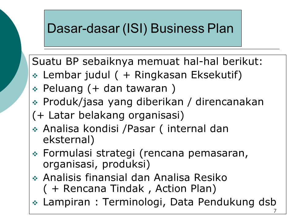 Dasar-dasar (ISI) Business Plan