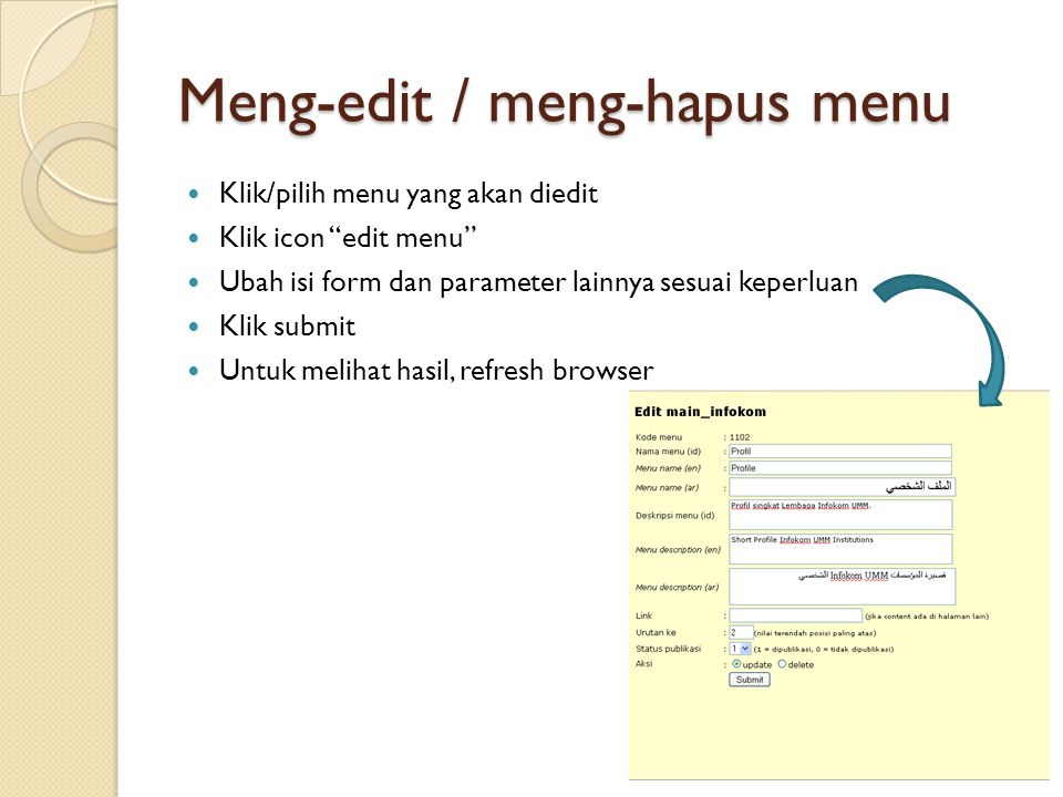 Meng-edit / meng-hapus menu