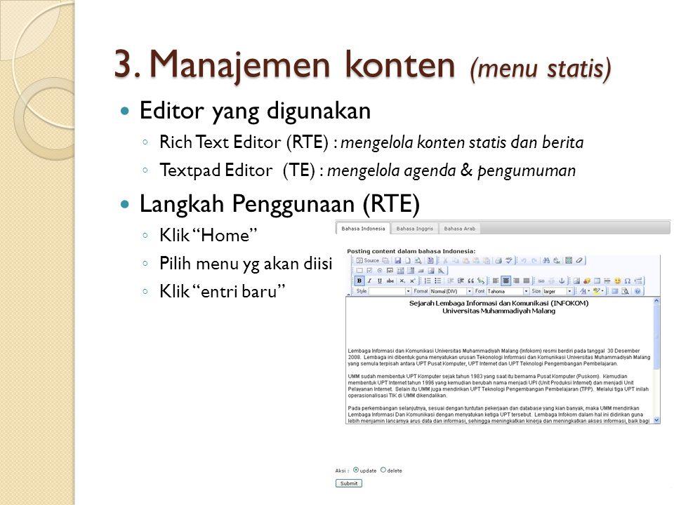 3. Manajemen konten (menu statis)