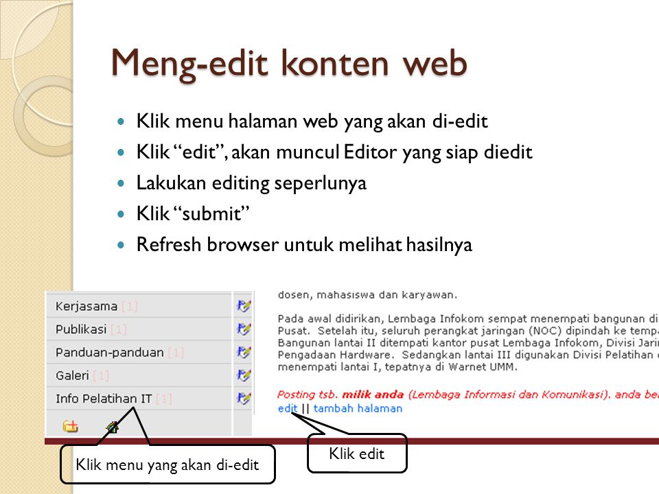 Klik menu yang akan di-edit