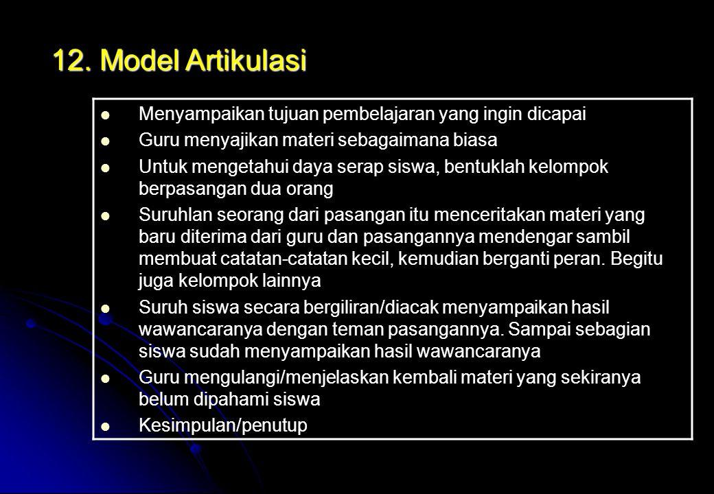 12. Model Artikulasi Menyampaikan tujuan pembelajaran yang ingin dicapai. Guru menyajikan materi sebagaimana biasa.