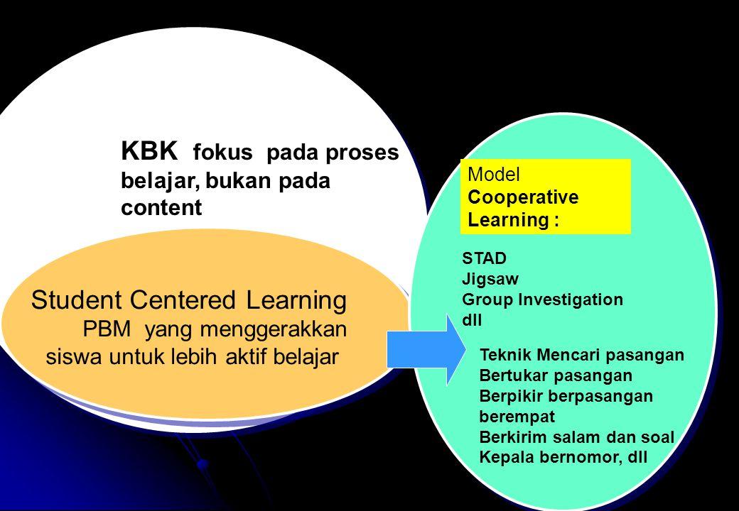 KBK fokus pada proses belajar, bukan pada content