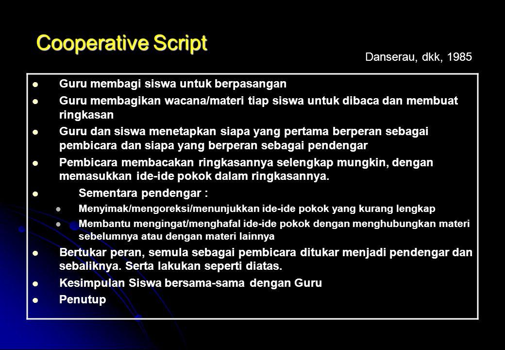 Cooperative Script Guru membagi siswa untuk berpasangan