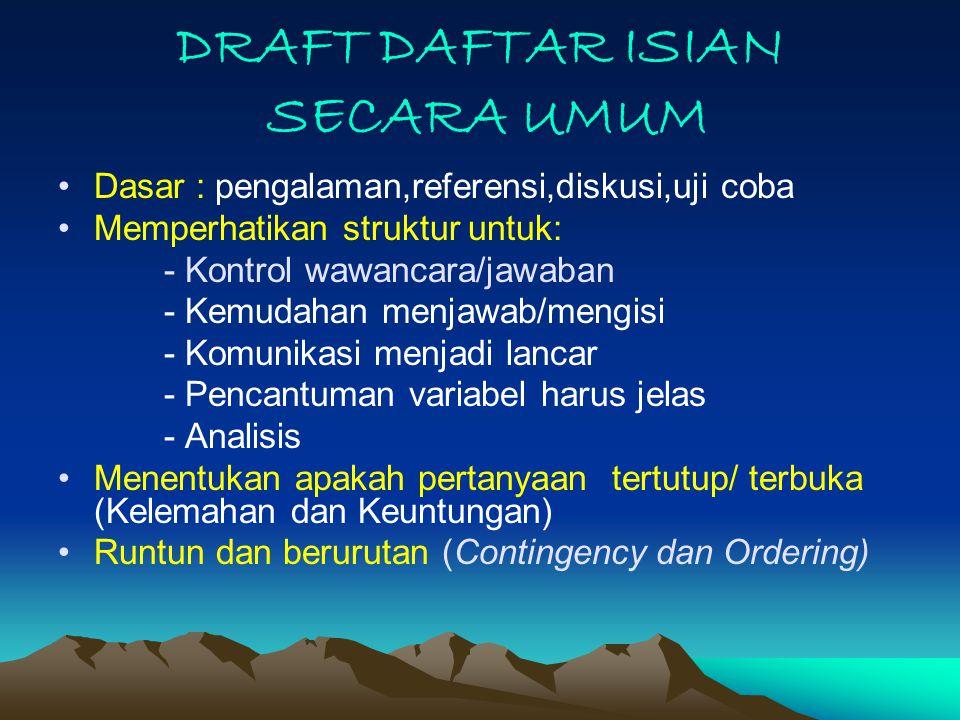 DRAFT DAFTAR ISIAN SECARA UMUM