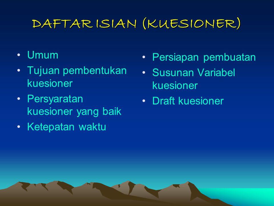 DAFTAR ISIAN (KUESIONER)