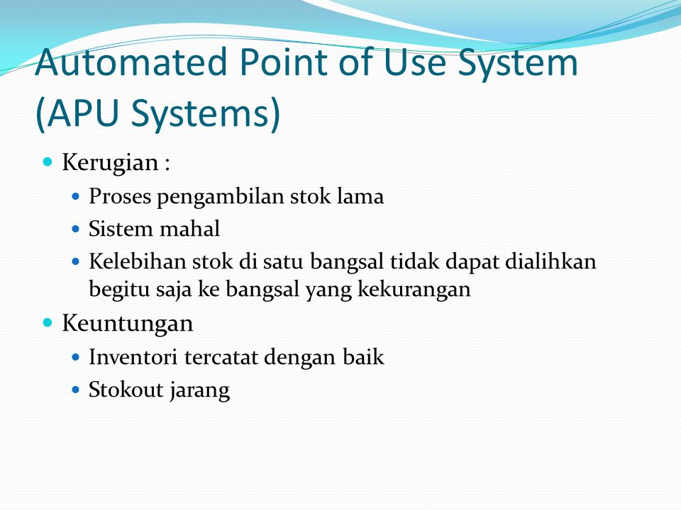 Automated Point of Use System (APU Systems)