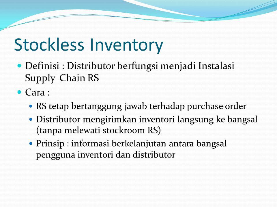 Stockless Inventory Definisi : Distributor berfungsi menjadi Instalasi Supply Chain RS. Cara : RS tetap bertanggung jawab terhadap purchase order.