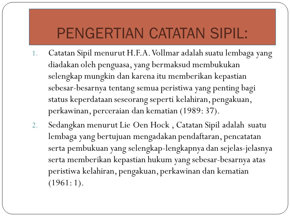 PENGERTIAN CATATAN SIPIL:
