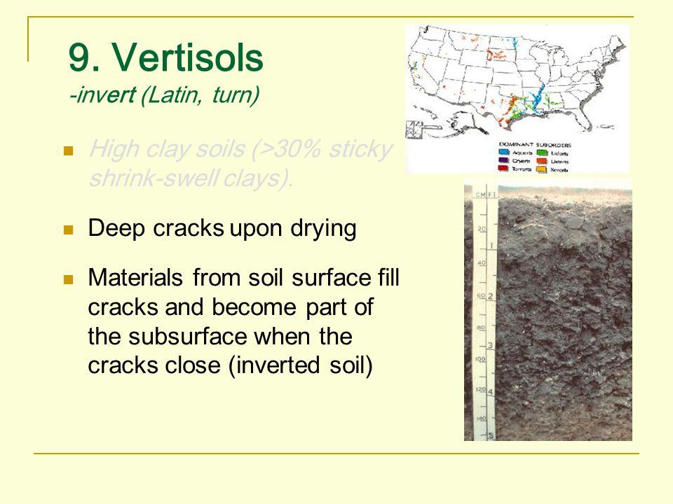 9. Vertisols -invert (Latin, turn)