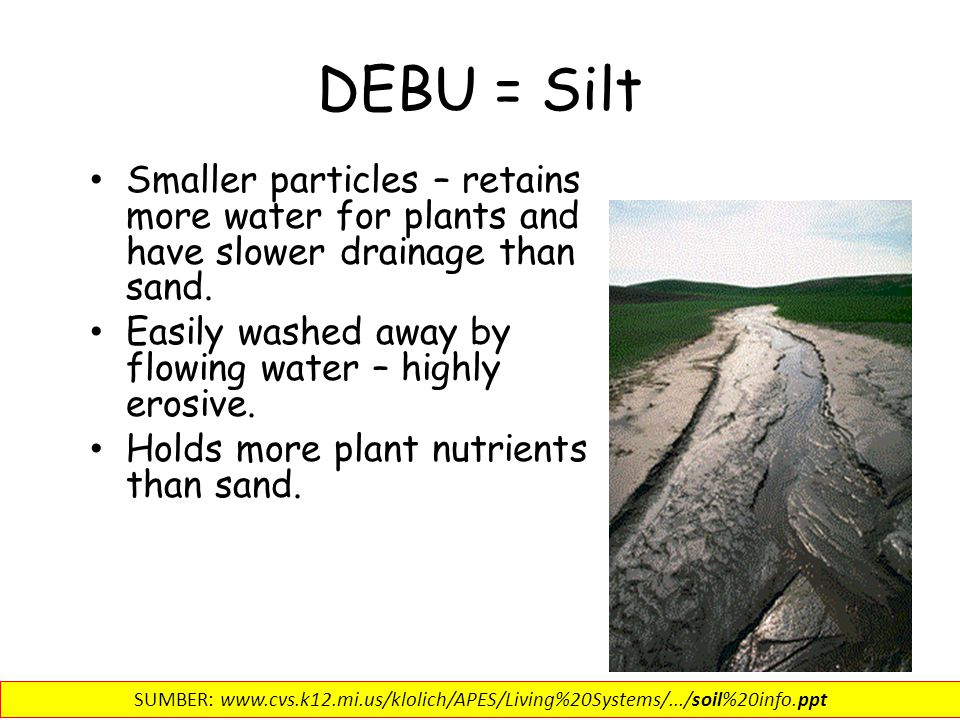 DEBU = Silt Smaller particles – retains more water for plants and have slower drainage than sand.