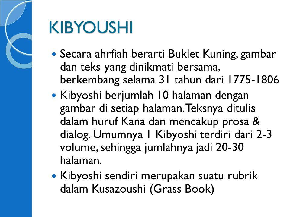 KIBYOUSHI Secara ahrfiah berarti Buklet Kuning, gambar dan teks yang dinikmati bersama, berkembang selama 31 tahun dari 1775-1806.