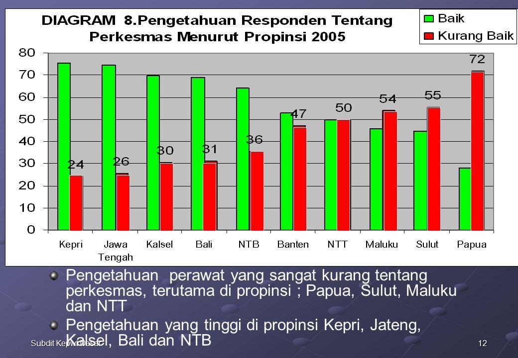Pengetahuan perawat yang sangat kurang tentang perkesmas, terutama di propinsi ; Papua, Sulut, Maluku dan NTT
