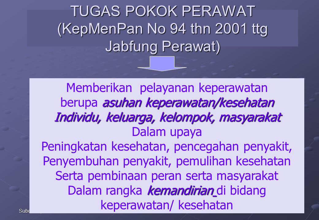 TUGAS POKOK PERAWAT (KepMenPan No 94 thn 2001 ttg Jabfung Perawat)