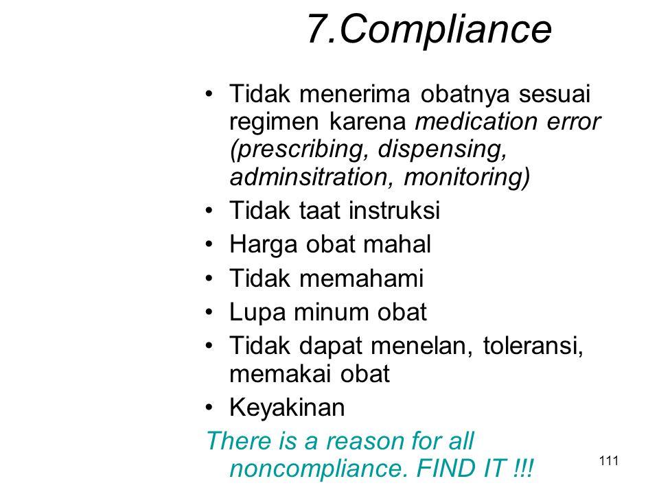 7.Compliance Tidak menerima obatnya sesuai regimen karena medication error (prescribing, dispensing, adminsitration, monitoring)