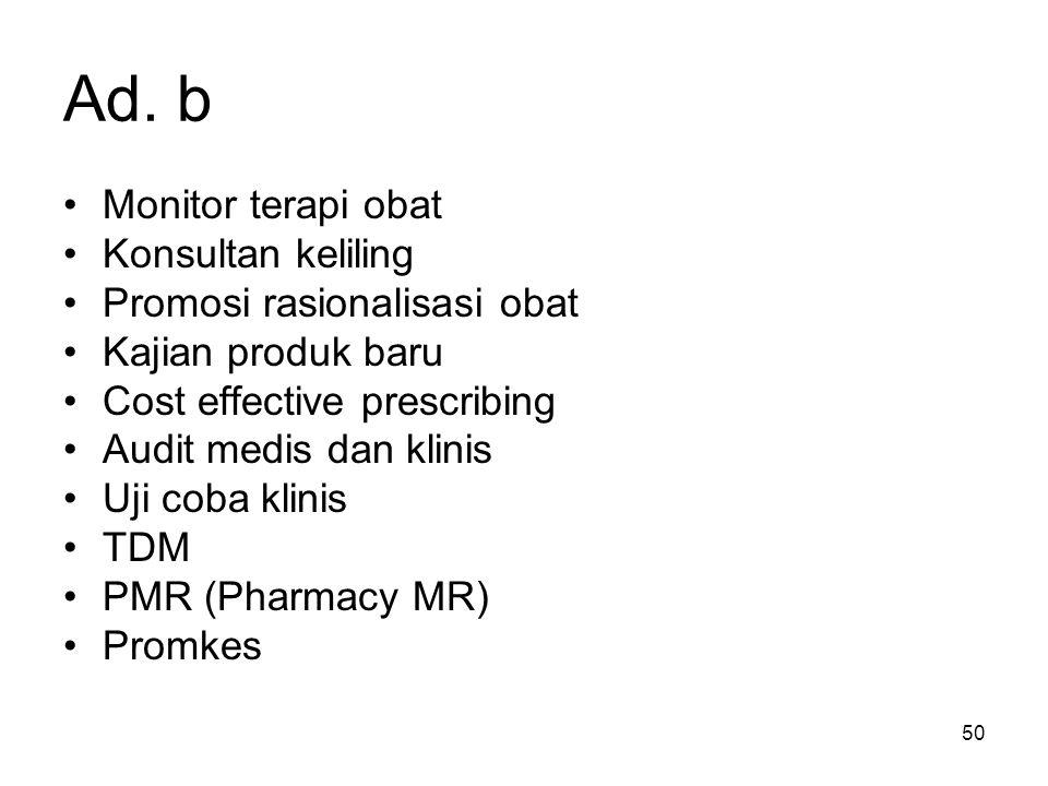 Ad. b Monitor terapi obat Konsultan keliling