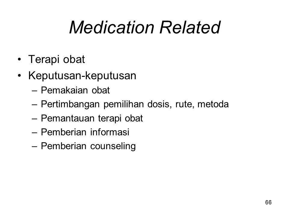 Medication Related Terapi obat Keputusan-keputusan Pemakaian obat